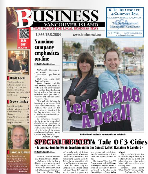 front page of business vancouver island
